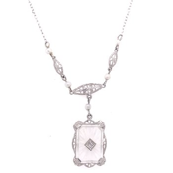 14K White Gold Vintage Crystal, Diamond, and Pearl Necklace circa 1950