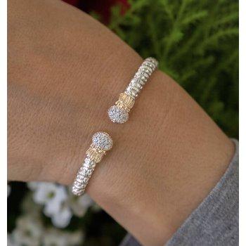 14 Karat Yellow Gold and Sterling Silver Oval Cut Diamond Cuff Vahan Bracelet