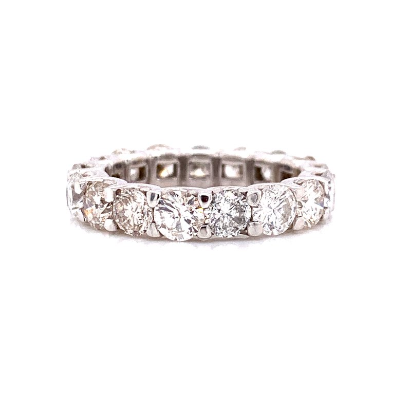 Corinth Collections  14 Karat White Gold U-Prong Round 4.65 Total Weight Diamond Eternity Band