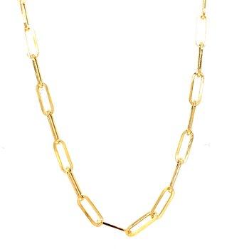 14 Karat Yellow Gold Petite Paper Clip Necklace