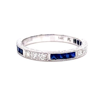 14 Karat White Gold Sapphire and Diamond Vintage Stacker Band
