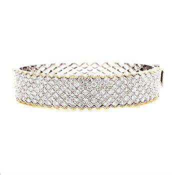 14 Karat Yellow and White Gold Pave Diamond Bangle Bracelet