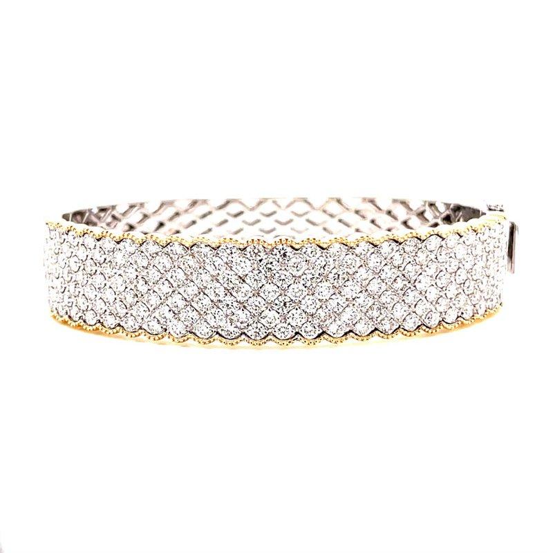 Corinth Collections  14 Karat Yellow and White Gold Pave Diamond Bangle Bracelet