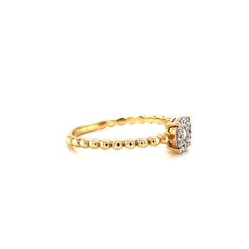 14 Karat Yellow Gold Round Diamond Fashion Band with Beaded Shank
