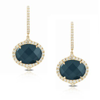 18 Karat Yellow Gold Oval Hematite with Swiss Blue Topaz and Diamond Halo