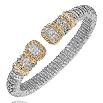 14 Karat Yellow Gold and Sterling Silver Vahan Cushion Diamond Cuff Bracelet