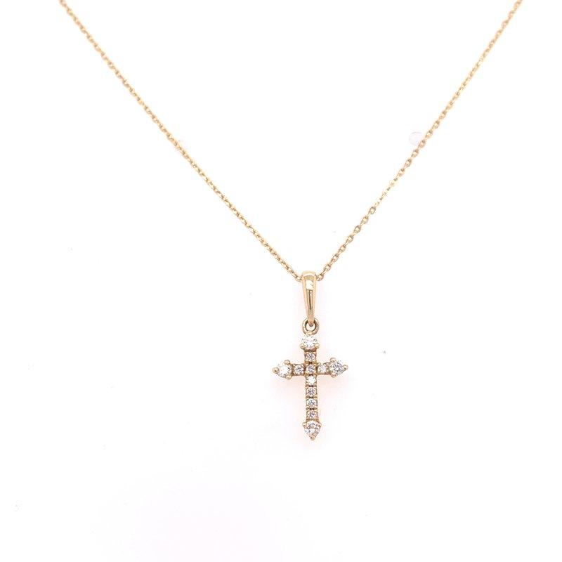 Corinth Collections  14K Yellow Gold Petite Diamond Cross Necklace