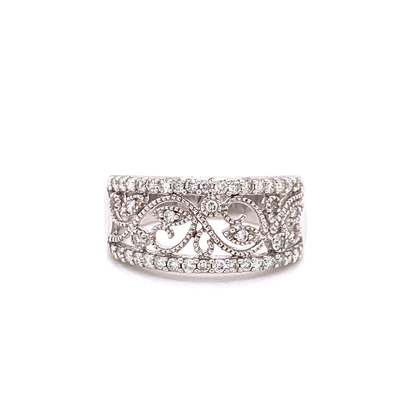 Corinth Collections  14K White Gold Migrain Floral Diamond Band