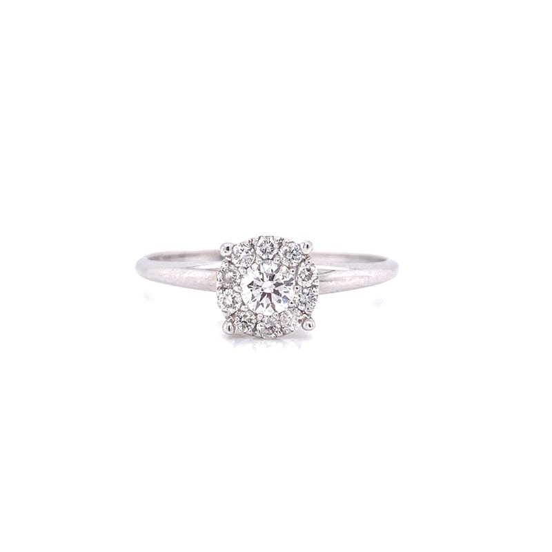 Corinth Collections  14K White Gold Round Illusion with Polished Shank