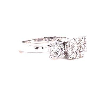 14 Karat White Gold Three Stone Round Illusion Center with Polished Shank Engagement Ring