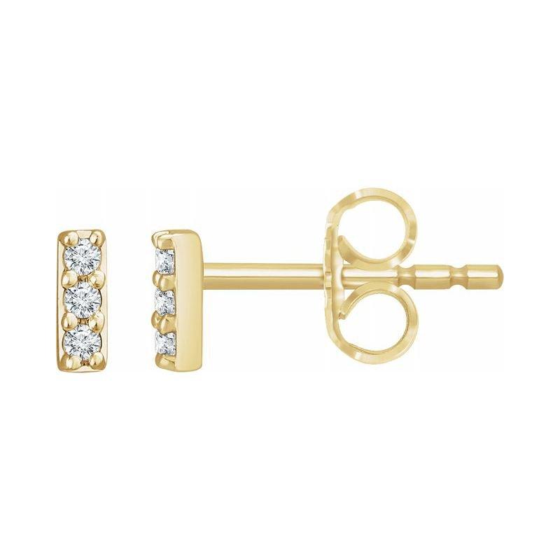 Corinth Collections  14 Karat Yellow Gold Petite Lab Grown Diamond Bar Stud Earrings