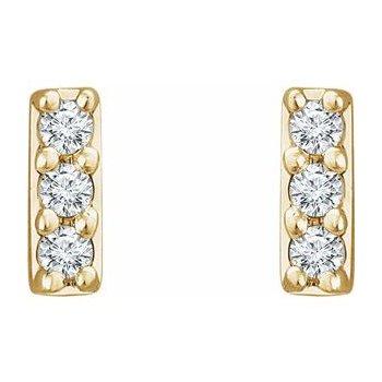 14 Karat Yellow Gold Petite Lab Grown Diamond Bar Stud Earrings