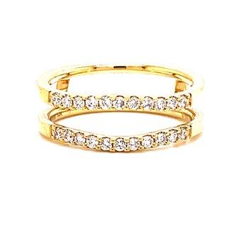14 Karat Yellow Gold Round Diamond Ring Guard