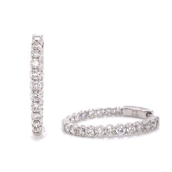 14K White Gold Round Inside Out Diamond Hoops