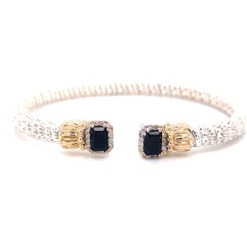14 Karat Yellow Gold and Sterling Silver Black Onyx Vahan Cuff
