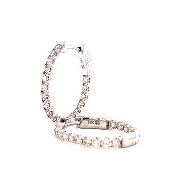 14 Karat White Gold Oval Inside Out Diamond Hoop Earrings