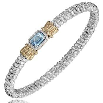 14 Karat Yellow Gold and Sterling Silver Emerald Cut Sky Blue Topaz and Diamond Bar Vahan Bracelet