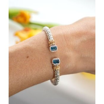 14 Karat Yellow Gold and Sterling Silver Blue Topaz and Diamond Rectangle Cuff Bracelet