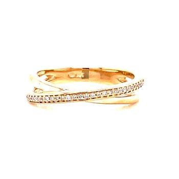 14 Karat Yellow Gold Crisscross Diamond Fashion Ring