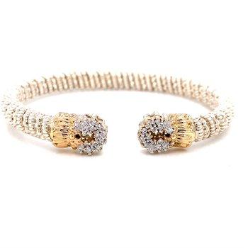 14 Karat Yellow Gold and Sterling Silver Open Diamond Circle Cuff