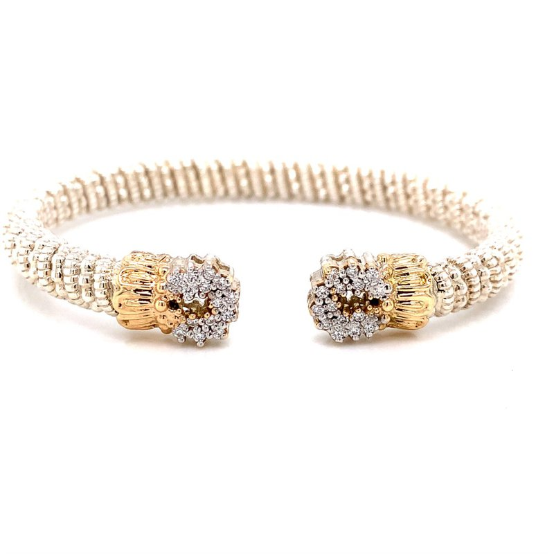 Alwand Vahan 14 Karat Yellow Gold and Sterling Silver Open Diamond Circle Cuff