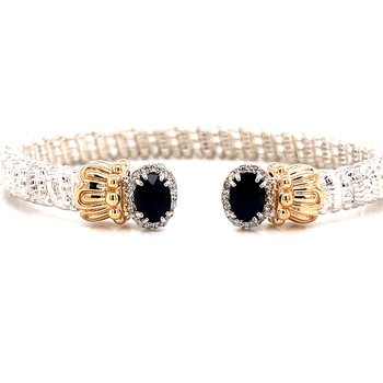 14 Karat Yellow Gold and Sterling Silver Vahan Oval Black Onyx Cuff Bracelet