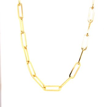 Gold Plated Paper Clip Necklace