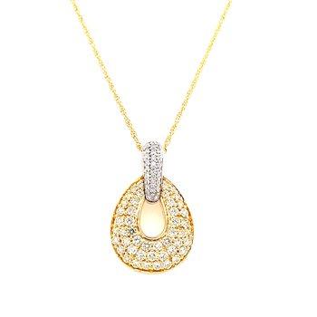 14 Karat Yellow Gold Graduated Oval Yellow Diamond and White Diamond Fancy Necklace