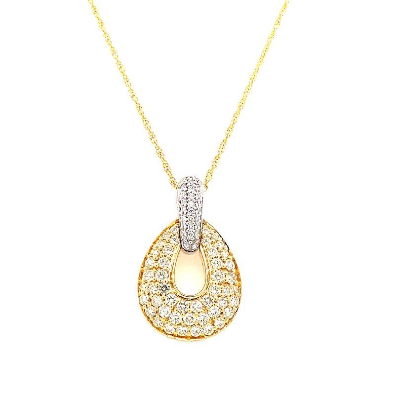 Allison-Kaufman 14 Karat Yellow Gold Graduated Oval Yellow Diamond and White Diamond Fancy Necklace