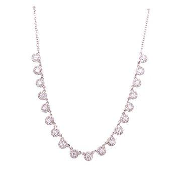 14 Karat White Gold Diamond Station Necklace