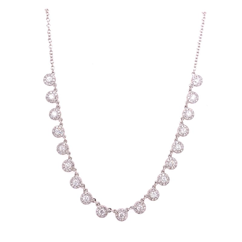 Corinth Collections  14 Karat White Gold Diamond Station Necklace