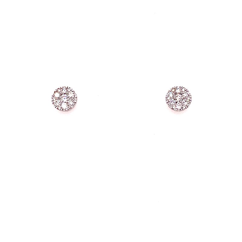 Corinth Collections  14 Karat White Gold Round Diamond Stud Earrings