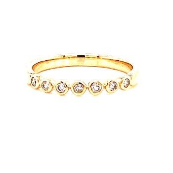 14 Karat Yellow Gold Round Bezel Set Diamond Stacker Band