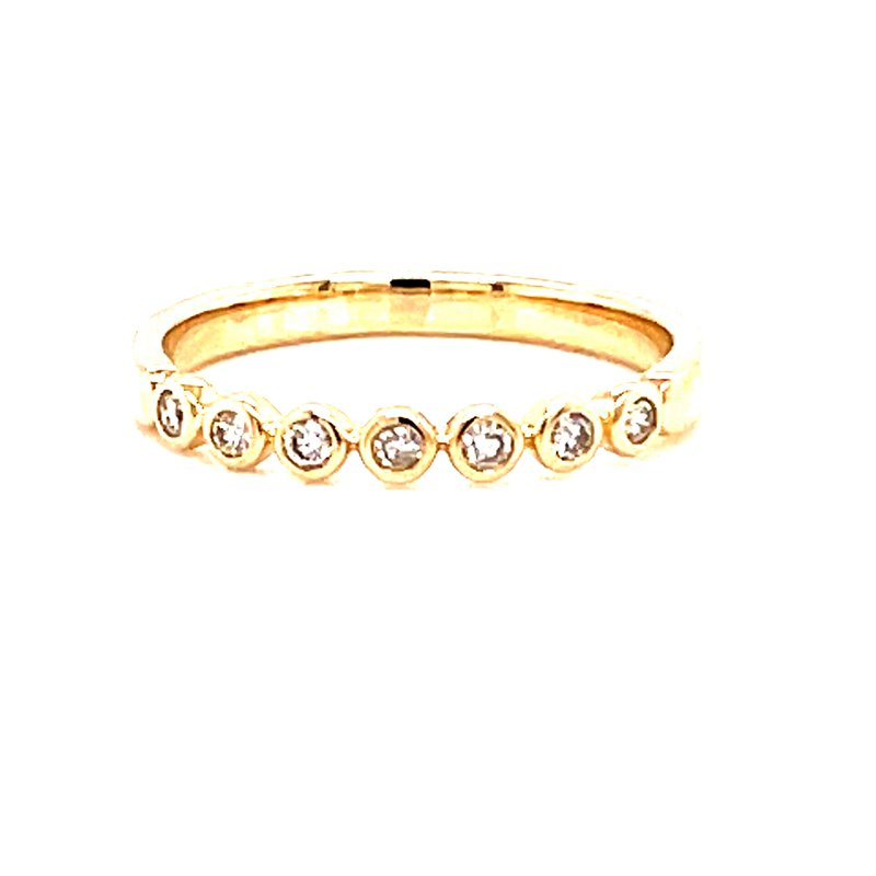 Corinth Collections  14 Karat Yellow Gold Round Bezel Set Diamond Stacker Band