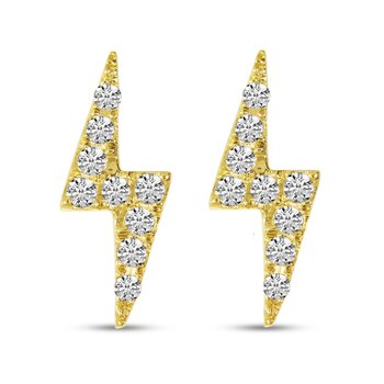 14 Karat Yellow Gold Lightning Bolt Diamond Stud Earrings