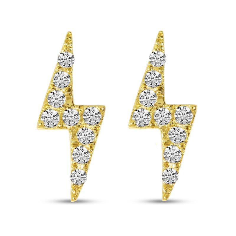 Corinth Collections  14 Karat Yellow Gold Lightning Bolt Diamond Stud Earrings