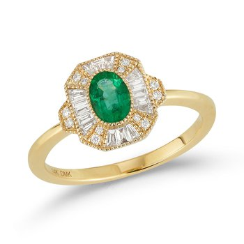 14 Karat Yellow Gold Oval Cut Emerald with Baguette Diamond Vintage Halo Fashion Ring