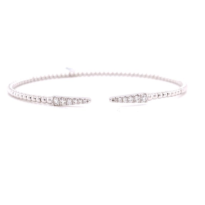 Corinth Collections  14K White Gold Gab Cuff with Double Diamond Bar