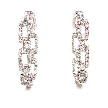 14 Karat White Gold Inside Out Diamond Link Hoop Earrings