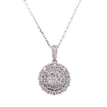 14 Karat White Gold Round Cluster Diamond Fashion Necklace