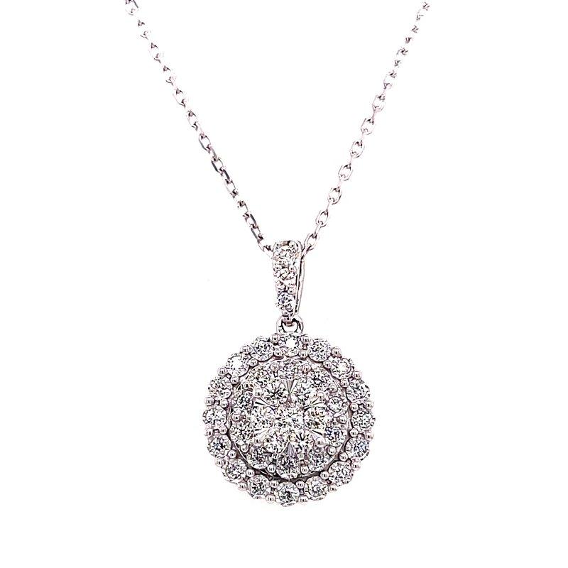 Corinth Collections  14 Karat White Gold Round Cluster Diamond Fashion Necklace