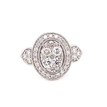 14 Karat White Gold Oval Illusion Center with Diamond Halo and Trillion Accents Fashion Ring