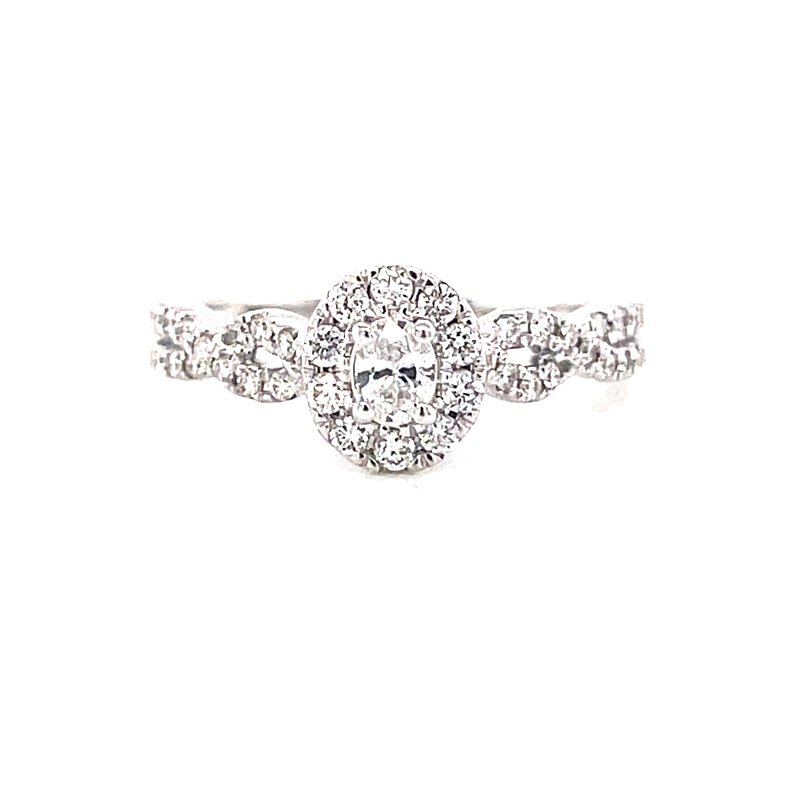 Corinth Collections  14 Karat White Gold Oval Center with Diamond Halo and Infinity Shank Engagement Ring