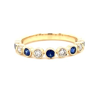 14 Karat Yellow Gold Sapphire and Diamond Fashion Stacker Band