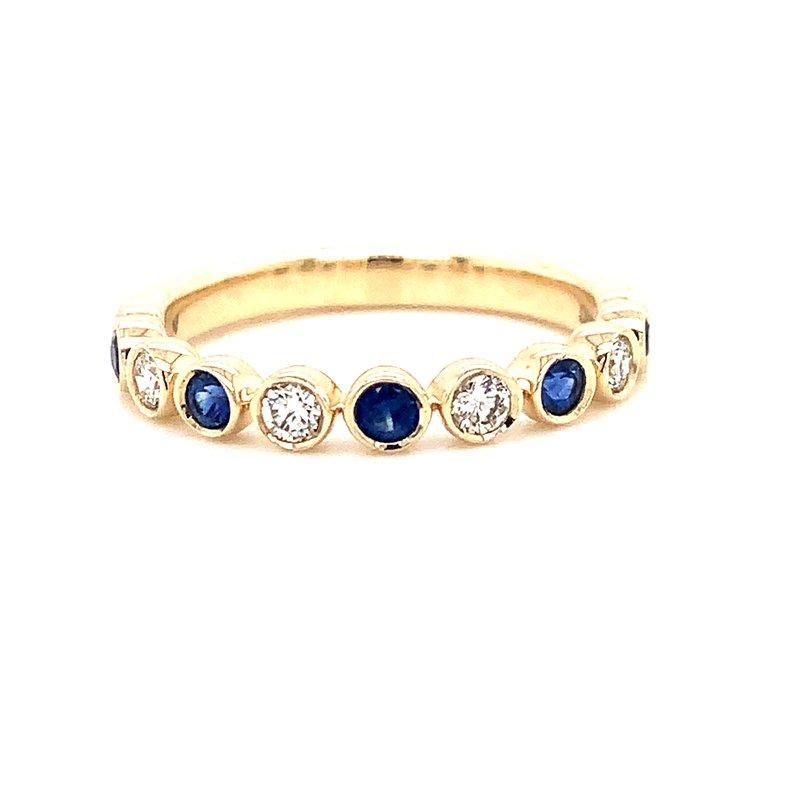 Corinth Collections  14 Karat Yellow Gold Sapphire and Diamond Fashion Stacker Band
