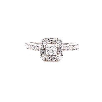 14 Karat White Gold Princess Cut Center with Diamond Halo Engagement Ring
