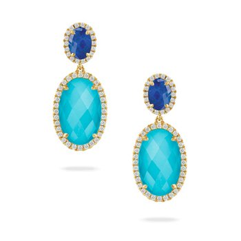 18 Karat Yellow Gold Lapis and Turquoise with a Clear Quartz Overlay Diamond Dangle Earrings