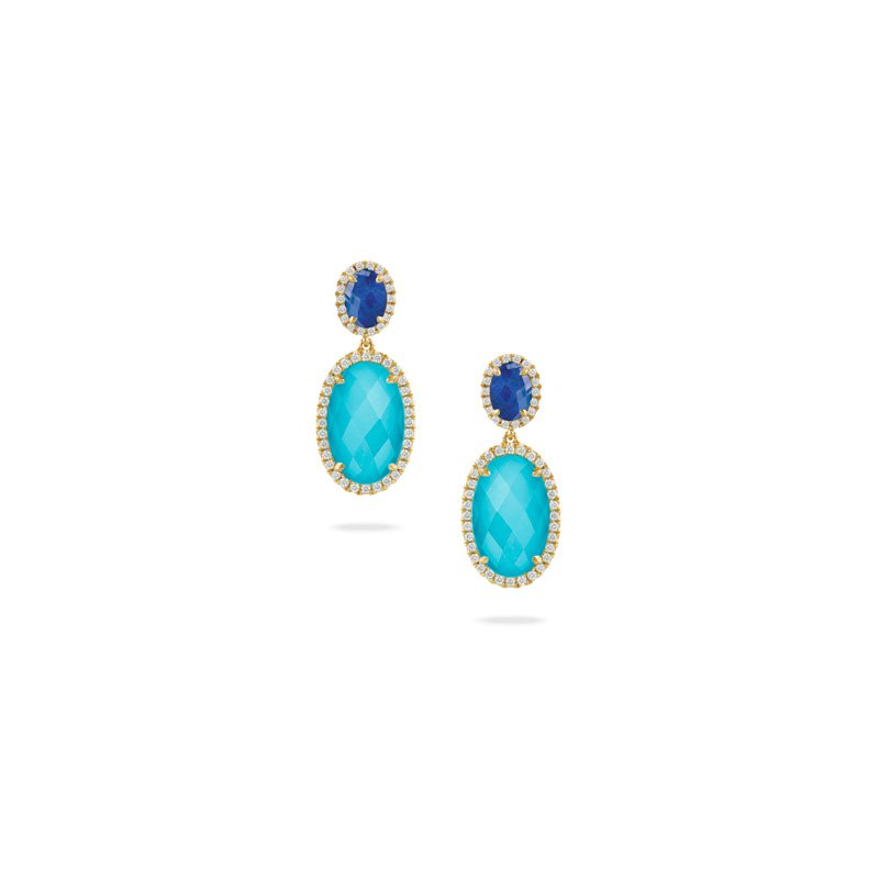 Corinth Collections  18 Karat Yellow Gold Lapis and Turquoise with a Clear Quartz Overlay Diamond Dangle Earrings