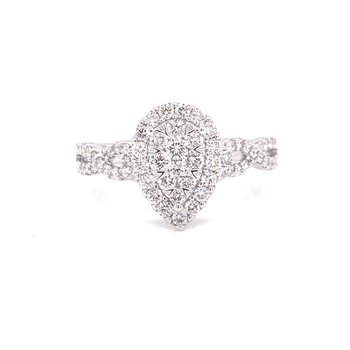 14K White Gold Illusion Pear Center with Diamond Halo and Infinity Shank