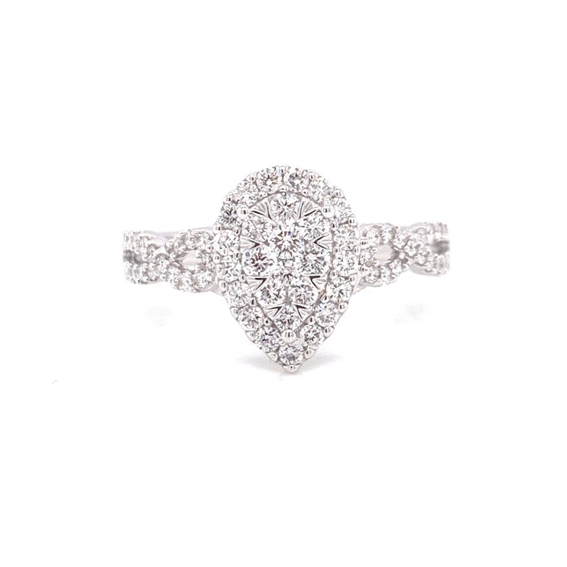 Corinth Collections  14K White Gold Illusion Pear Center with Diamond Halo and Infinity Shank